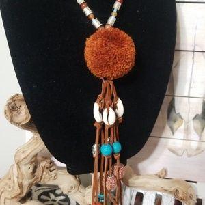 Creative Crystal Designs Jewelry - NEW! CCD LEATHER,STONE & POM POM TASSEL NECKLACE!